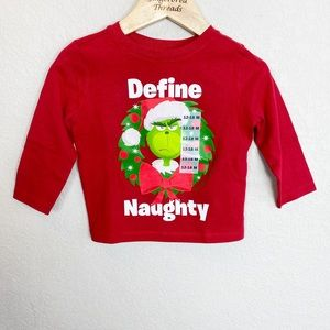 Old Navy Grinch Define Naughty Red Tee NWT